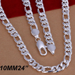 Wholesale Figaro Ship - New Style 925 Silver necklace 10MM Bold Men's Figaro Chain Necklace 24inch Free Shipping