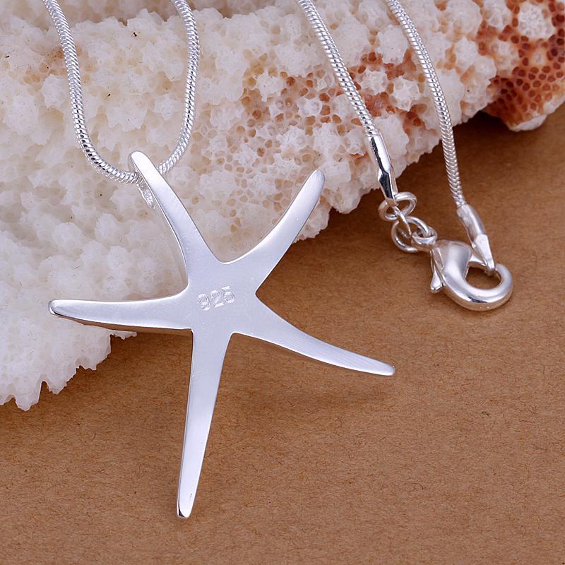 Мода партии ювелирных изделий покрытием стерлингового серебра 925 Морская звезда ожерелье Рождественский подарок бесплатная доставка 10 шт./лот