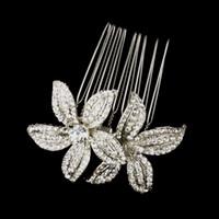 ingrosso pettine d'argento d'argento vintage-Monili di capelli del pettine dei capelli del fiore delle donne di Diamante del cristallo di rocca placcati chiaro d'annata di 2 pollici del rodio