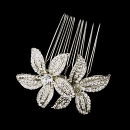 Wholesale Vintage Style Hair - 2 Inch Vintage Style Rhodium Silver Plated Clear Rhinestone Crystal Diamante Women Flower Hair Comb Jewelry