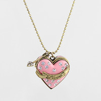 Wholesale Pendent Box - Fashion Jewelry hot sale pink box with rhinestone openable heart pendent necklace