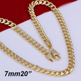 Wholesale Wholesale 24k Gold China - 10PIECES 24K Gold plated 7mm Curb Chains Men's Necklace New Necklace 20inch