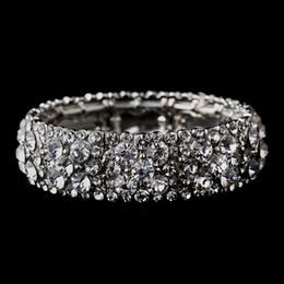 Wholesale Clear Crystal Stretch Bracelet - Sparkling Rhodium Silver Clear Rhinestone Crystal Stretch Wedding Bracelet