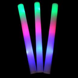 "Wholesale Light Up Wands Wholesale - 10pk 18"" LED Light Up Foam Batons MultiColor Changing Rave Baton Party Wand"