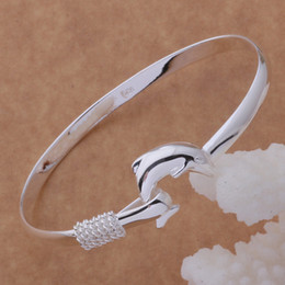 Wholesale New Wholesale Fashion Jewellery - TOP Sale NEW ARRIVE Bright Lovely Christmas gift jewellery 925 Silver fashion Beautiful jewelry Pretty Dolphin bangle Bracelet Lady B023