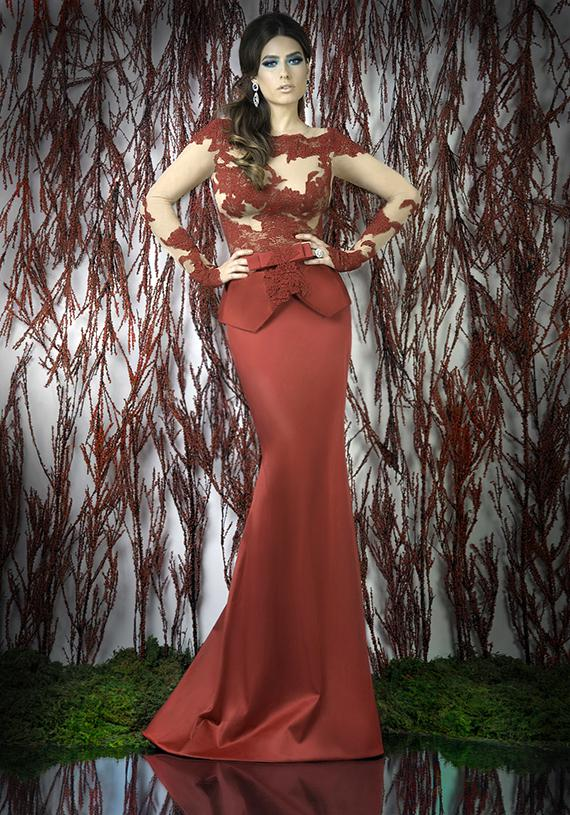 49331d19c0d2 Mermaid Evening Dresses Crew Neck Long Sleeves Flesh Colored Tulle ...