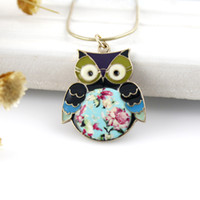 Wholesale Beaded Owl Necklaces - Top sale fashion alloy cute Colorful owl Pendant necklace