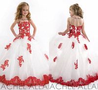 Wholesale Kids Pageant Girls - New Arrival 2015 little Kids Outstanding Lace Beaded crystal Organza Toddler Beauty Pageant Dress Flower Girl Dresses