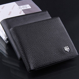 Wholesale Clip Wallet For Men - New fashion men brand leather wallet business casual design card holders money purses clips wallets for men black color free shipping