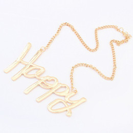 Wholesale Wholesale Chunky Necklaces For Women - 2014 Fashion Gold Collar Chunky HAPPY LOVE BOSS Letter Necklaces & Pendants For Women S902017