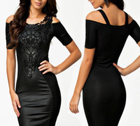 Wholesale Sexy Dress Fight - 2014 new fashion European style sexy strapless women dress, embroidered fight skin sexy package hip fashion black skirt, size: M, L, XL