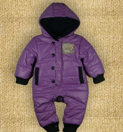 Purple Bodysuits Canada - Purple Baby Girls Rompers Down Jackets Baby Bodysuits Hooded coat outfits Retail Baby clothes Free Shipping