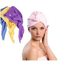 Wholesale super absorbent hair towels - Microfiber Magic Hair Dry Drying Turban Wrap Towel Long-haired Ultrafine Super Absorbent Fiber Hat Dry Hair Towel