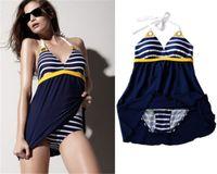 Wholesale Womens Swimsuit Swimwear Swimdress - Navy Blue Sailor Stripe Womens Bikini Padded Beach Swimwear Sexy Swimsuit Swim Dress Push Up Tankini Attached Bottom YZ008