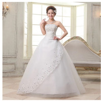Wholesale Strapless Stain Tulle Ball Gown - Hot 2014 new fashion Romantic strapless crystal floor-length lace tulle stain ball gown wedding dress bridal gowns