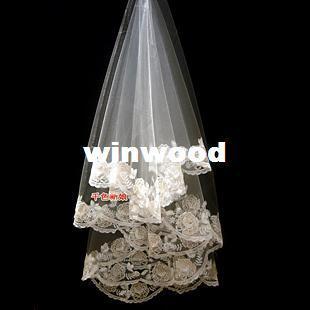 Цвет невесты шампанское пионы 3 метра лират пряжи старинные laciness длинные трейлинг свадебное платье вуаль