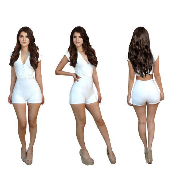 2019 Ladies Celebrity Bodycon Jumpsuit Women White Deep V Collar