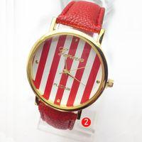 Wholesale good watches geneva resale online - 2013 New Geneva Leather bands Stripe face golden cases women ladies girls fashion Platinum good quality watches