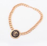 Wholesale Lion Head Necklace Wholesale - Fashion Gold Plated Chain Necklaces & Pendants Women Lion Head Choker Statement Necklaces S6214