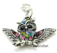 "Wholesale Color Owl Necklace - Fashion Charms 20PCS ""Owl color"" dangles necklace pendants fit floating charm Origami owl locket with Lobster clasp LSFE09*20"