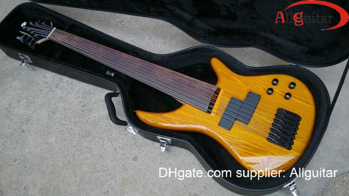 Klassisk 7 strängar Fretless Bass Natural Electric Bass Kina Bass