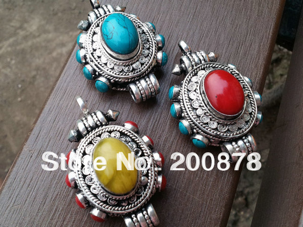 Wholesale tgb070 nepal india antiqued silver colorful beads prayer tgb070 nepal india antiqued silver colorful beads prayer box pendantstibetan prayer box amulet aloadofball Image collections