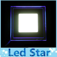 Wholesale glass panels for walls - 10W Glasses Square LED Recessed Wall Ceiling Panel Lights downlight 85-265V Warm white+ Blue Cool White + Blue indoor lighting For Home Lamp