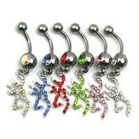 Wholesale Dangle Navel Rings Mix - 0070 browning deer dangles mix colors as imaged E0159 belly button ring Belly Button rings body navel belly rings Dangle Piercing Jewelry