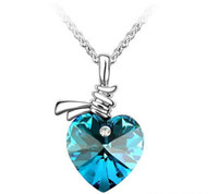 Wholesale platinum crystal jewelry resale online - New Austrian Crystal Heart Pendant Necklace Platinum Plated Summer women lady jewelry