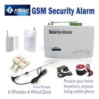 sistema de alarma de casa gsm inteligente al por mayor-Real Voice Prompt ~ Sistema de alarma GSM para ladrón inteligente hogareño inalámbrico más rentable-900/1800 / 1900Mhz sg-122