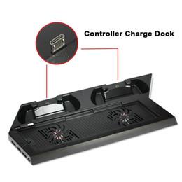 Venta al por mayor de caliente !!! Soporte dual de carga de la estación de carga del controlador Cooling Cool Fan Soporte vertical para PS4 sin DHL