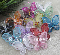 Wholesale Glitter Butterflies Decorations - Free Shipping 45*50mm Glitter Organza Gauze Butterflies for Wedding Decorations Party Supplies more colors available