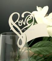 Wholesale Numbered Wine Glasses - 50pcs Romantic Love Heart Name Place Cards Laser Cut Table Name Cards Numbers Wine Glass Place Cards Wedding Party Decoration