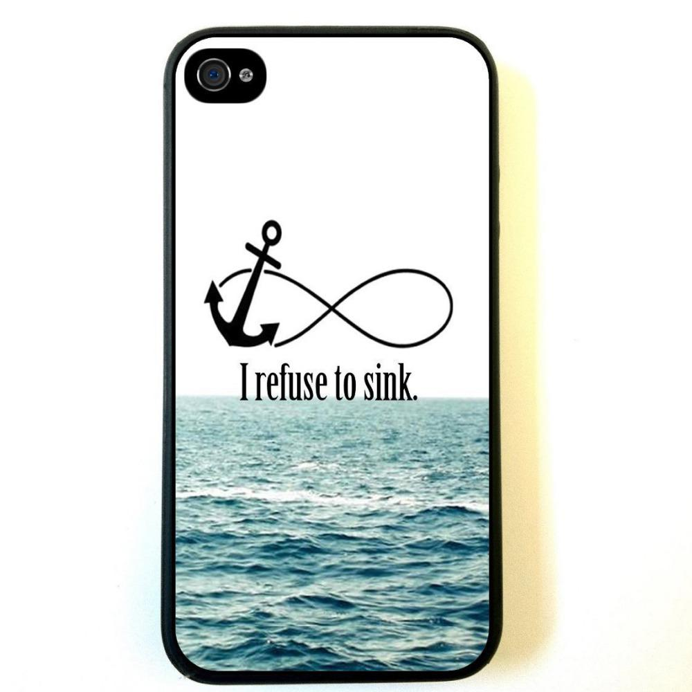 Wholesale Brand New I Refuse To Sink Cool Anchors Love Style Hard Plastic  Back Mobile Phone Case Cover For Iphone 4 4S 5 5S 5C 50pcs Up