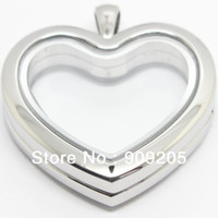 Wholesale High Quality Owl Pendant - 2017 High Quality Silver Plain 316L Stainless Steel Heart Origami Owl Floating Locket 2 Pieces Lot HF-003