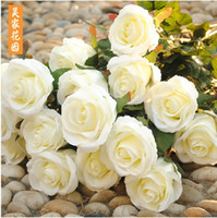 Wholesale Cheap Wholesalers For Christmas Decorations - 2016 New Styles Artificial Rose Silk Craft Flowers Real Touch Flowers For Wedding Christmas Room Decoration 7 Color Cheap Sale