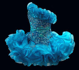 Wholesale Cheap Puffy Ball Gowns - One shoulder girl`s pageant dresses with ruffles neckline sequins beaded crystals organza cup cake Short puffy skirt cheap blue dress