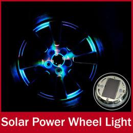 Wholesale Led Rims Car - 4 PCs lot Colorful Waterproof Auto LED Neon Flash Glare Decorative Tire Lamp Solar Energy Power Car Rim Wheel Lights Auto Switch