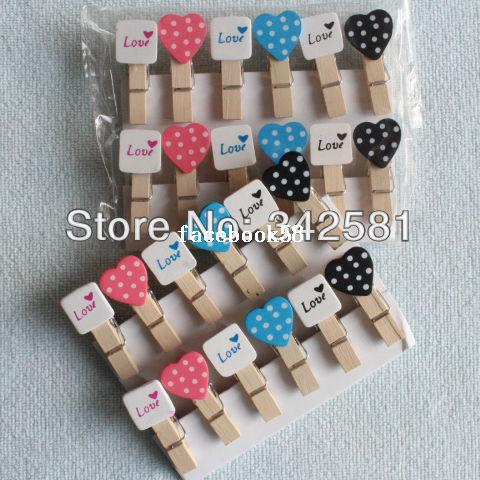 48X Spedizione gratuita MINI Colorful Peach Heart Craft legno Banner clip pioli prefetto per la decorazione di eventi festa di nozze