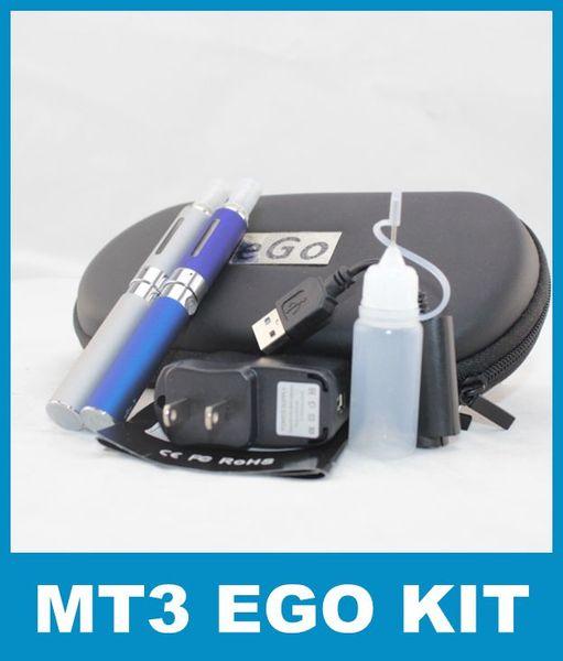 MT3 Ego-t Double Ego Starter E-cig Kits E-Cigarette Zipper Case 650 900 1100mah 2 clearomizer Atomizer 2 Electronic Cigarette battery YA0100