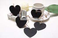 Wholesale Chalkboard Tags Wholesale - Free shipping 100PCS Lot Mini Heart Chalkboard Blackboard With String Label Tags Place Card SHB13