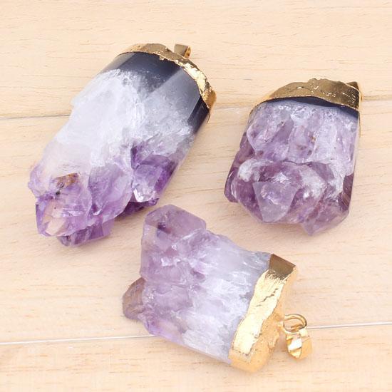 wholesale Charm Gold Plated Natural Amethyst Quartz Cluster Druzy Crystal Random Shape Stone Druzy Stone Pendant jewelry