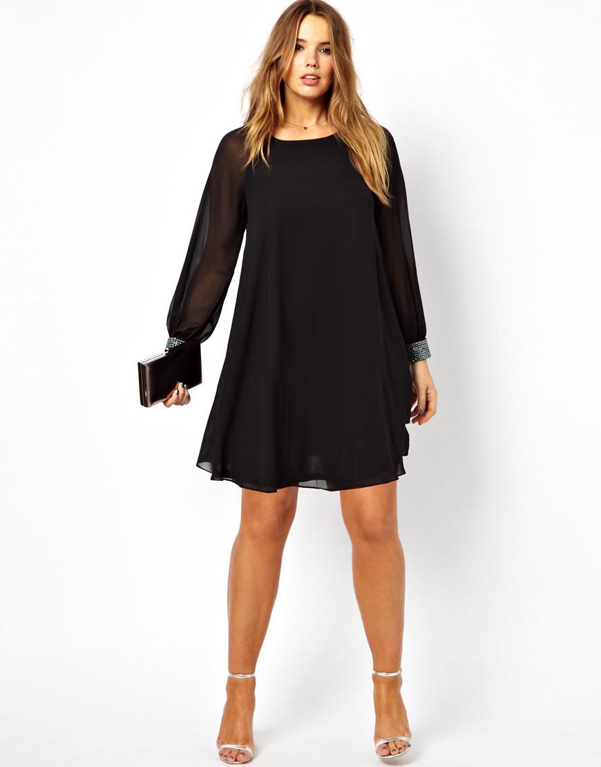 Pretty Boncuk Bir Çizgi Artı Boyutu Gelinlik Modelleri Ekip Boyun Çizgisi Uzun Kollu Kısa Mini Şifon Parti Elbise