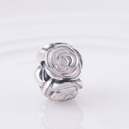 Argentina De alta calidad S925 Sterling Silver Thread Core Rose Garden Charm Bead con esmalte rosa se adapta a European Pandora Jewelry pulseras collares supplier pandora garden charm Suministro