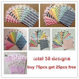 Wholesale Wholesale Chevron Treat Bags - Promotion! 5inch x 7inch 56 Designs Assorted Chevron Polka Dot Striped Honeycomb Treat Paper Favor Bags, Best Party Gift Bag