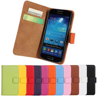 Wholesale S4 Book - Hot Sales Genuine Leather Book Style Wallet Covers Case for Samsung Galaxy S4 mini i9190 with ID Cards Holder Free Shipping