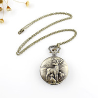 Wholesale Deer Oval - Steampunk And Vintage Style High Quality Carved David's Deer Design Pocket Watch