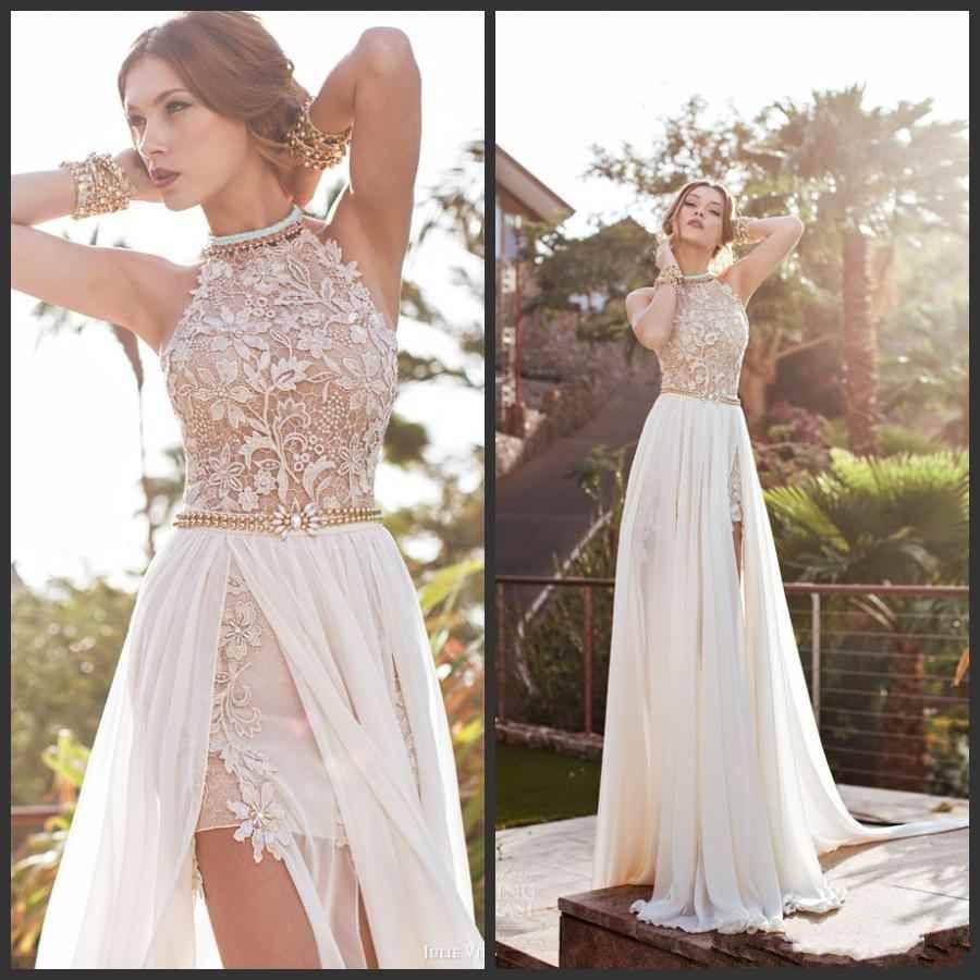 Julie Vino Backless Evening Dresses Eden Halter Neck Chiffon Lace ...