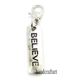 """Wholesale Wholesale Origami Owl Charms - Fashion Charms 20PCS """"BELIEVE"""" dangles necklace pendants fit floating charm Origami owl locket with Lobster clasp LSFE33-5*20"""