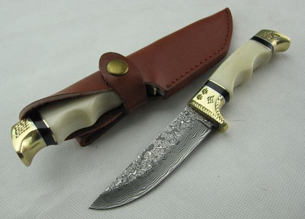 Promoción Damasco cuchillo cuchillos cuchillo recto, hueso 58HRC Camel + cabeza doble de cobre con el patrón caiving manija, Ourdoor de supervivencia